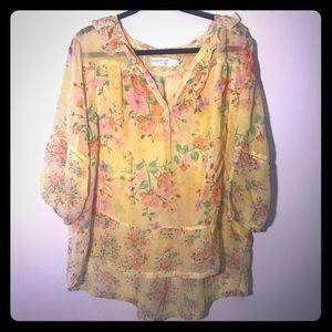 Vintage Vibe Yellow Floral Plus Size Boho Top 3x